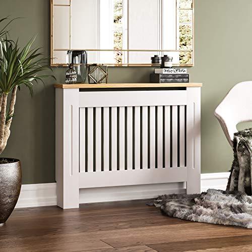 Vida Designs Arlington Radiator Cover White Modern Painted MDF Cabinet, Slats, Grill, Wood Top Shelf, Medium