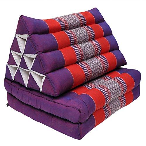 Wilai GmbH Cuscino triangolo Thai con piccolo materasso 2 pieghe, fabbricato in Thailandia, Viola/Rosso (81502)