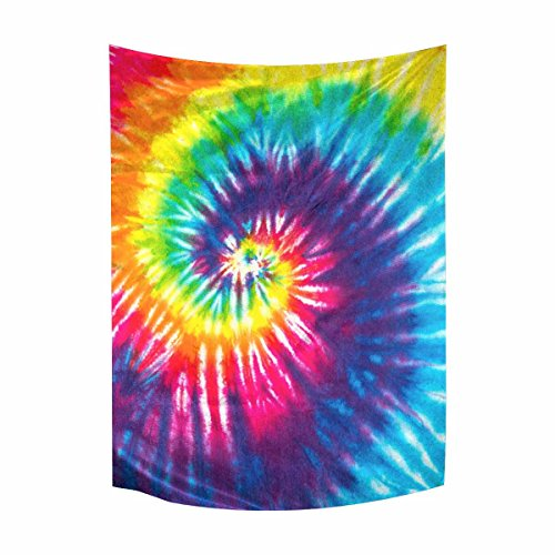 InterestPrint Abstract Rainbow Spiral Tie Dye Cotton Linen Tapestry Wall Art Home Decor, Tapestries Wall Hanging Art Sets, 40W X 60L Inch