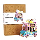 Hands Craft Ice Cream Truck | Cute, Fun and Colorful DIY 3D Wooden Puzzle Hand Crank Music Box - Build it Yourself Brain Teaser STEM Crafting Toy - Plays Auld Lang Syne for Age 14+ (AMD61)