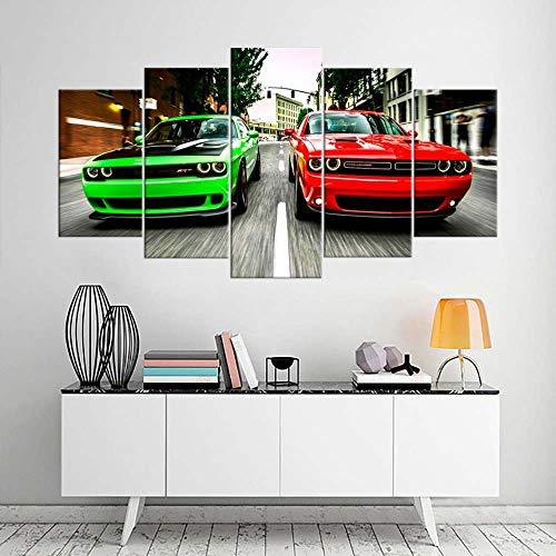 VKEXVDR Art Enlienzo Póster Dodg Challenger Super Car 5 Piezas Pared Mural para Decoracion Cuadros Modernos Salon Dormitorio Comedor Cuadro Impresión Piezasmaterial