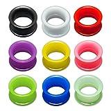 Fly Style Flesh Tunnel Silikon Ohr Plugs Extra weich und flexibel in 10 Farben | 1 Paar Piercing Stöpsel, Grösse:24 mm, Farbwahl:schwarz