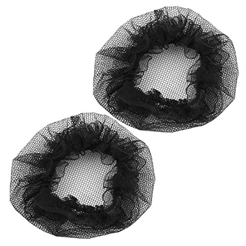 2 Pièces résille en nylon mailles Ballet Extensible Chignon Cheveux Housses Filet à cheveux Noir pour Femme