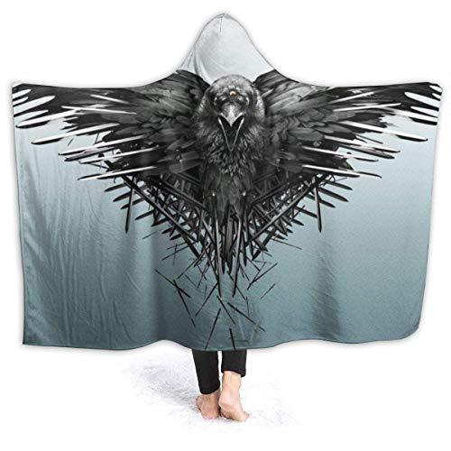 ujmki Manta de cuervo Espadas Juego Tronos con capucha Mantas de forro polar suave y cálida manta sherpa acogedora 60 x 50