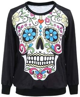 Outdoor Hoodies Femininas Skull Digital Print Fitness Sweatshirt Woman Sport Suit