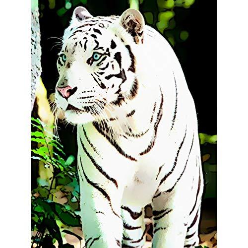 Lazodaer - Pintura de diamante para adultos, niños, decoración de la oficina para el hogar, regalos para ella, tigre, selva y tigre blanco, 30 x 39,9 cm