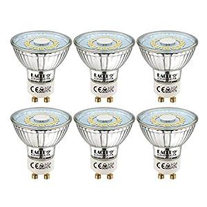 EACLL Bombillas LED GU10 4000K Blanco Neutro 5W Fuente de Luz 495 Lúmenes Equivalente 50W Halógena. AC 230V Sin Parpadeo Focos, 120 ° Spotlight, Blanca Neutra natural Lámpara Reflectoras, 6 Pack