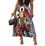 PINKE Falda Plisada con Patrón De Dibujos Animados De Primavera Y Verano, Falda A Juego De Color, Falda Casual, Posando(21,M)
