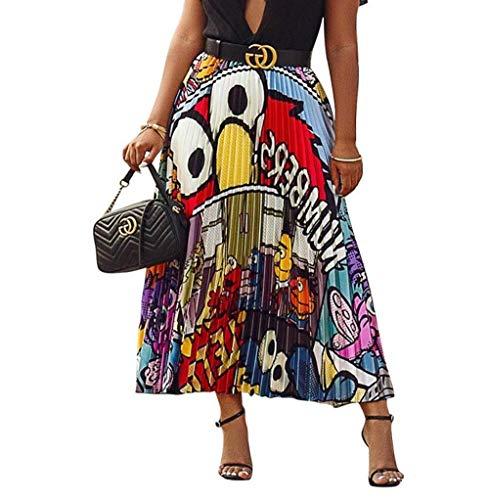 PINKE Falda Plisada con Patrón De Dibujos Animados De Primavera Y Verano, Falda A Juego De Color, Falda Casual, Posando
