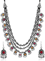 YouBella Fashion Jewellery Antique Oxidised Silver Plated Tribal Jewellery Necklace Earring Set for Women &...
