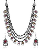 YouBella Fashion Jewellery Antique Oxidised Silver Plated Tribal Jewellery Necklace Earring Set for Women & Girls.(Valentine Gift Special). (Multi)