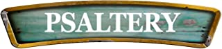 "Psaltery Teal Curved 8"" Shaped Weathered Rustic Painted Wood Look Decal Bumper Sticker for use on Any Smooth Surface"