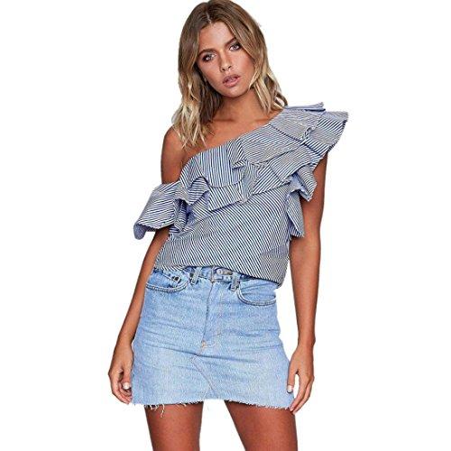 Jushye Women's Ruffles Off Shoulder Blouse, Ladies Casual Blouse Loose Tops T-Shirt Striped Tops Slash Neck (M, Dark Blue)