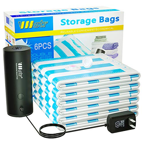 VMSTR Travel Vacuum Storage Bags with Electric Pump, Space Saver Bags for Travel and Home Use ( 6 PCS)