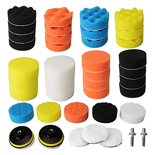 Trintion Polierschwamm 40tlg 80mm Polierschwämme Polieren Pad Schwamm Set - Polierpad Polierscheibe Set Polierteller Kit für Bohrmaschine und Poliermaschine