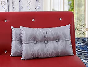 Dekor World Silver Silk Elegant Deco Filled Pillow(Pack of 2) 30x45cm, Living and Bedroom