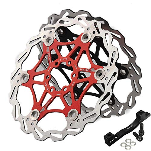 BUCKLOS 【US Stock】 1PC 180mm 203mm MTB Floating Disc Brake Rotor, Mountain Bike Brakes Rotors with is/PM Mount Adapter 6PC M5 Bolts, Stainless Steel Brake Rotor fit Road Mountain Bikes BMX(Black、RED)