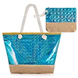 Diealles Bolsa Playa Grande Mujer Brillante, Bolsa Playa Grande con Cremallera XXL, (Tamaño Perfecto 55 x 39 x 16.5 cm), Ideal para la Playa o Piscina (Azul)