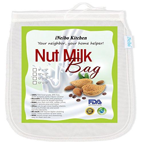 iNeibo, Borsa per Latte di Noci riutilizzabile in Nylon Colino di Qualità Premium per Latte di Frutta secca, 1 sacchetti (10'x12')
