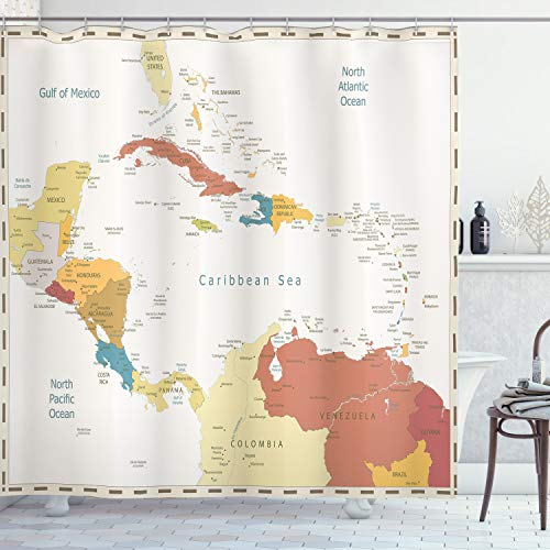 Ambesonne Vintage Cartography Shower Curtain, Retro Map Americas Carribean Sea, Cloth Fabric Bathroom Decor Set with Hooks, 70' Long, Eggshell Multicolor