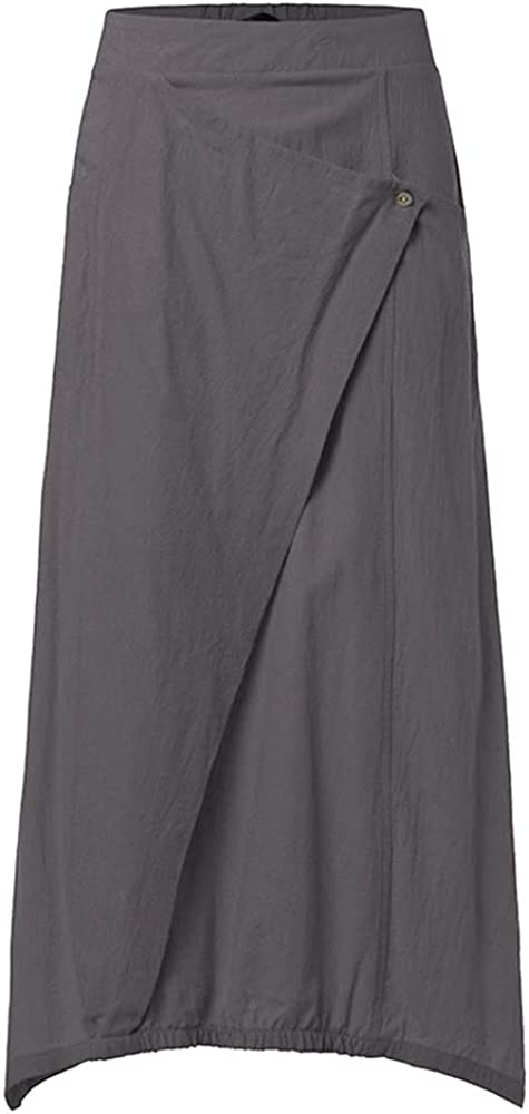 Nuofengkudu Women's Casual High Waist Cotton Linen Skirts Solid Fish Tail Skirt