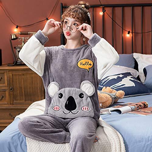 Conjunto Pijama Mujer,Señoras Invierno Cálido Suave Y Grueso Mujeres Gris Ropa De Dormir Lovely...