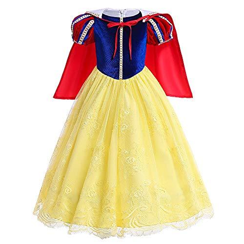 FYMDHB886 Halloween Kostuum Fancy Jurk Kinderen Prinses Jurk Meisje Lange Mouw Wit-Sneeuw Jurk Hof Stijl, 110CM, Kleur