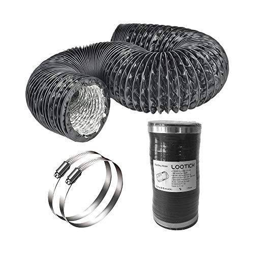 LOOTICH Fuerte Tubo Flexible de Aluminio PVC Ø79mm Longitud 2,5m para Extractor de Aire Climatización Secadora Conducto de Aire de Ventilación Sistemas con 2 Abrazaderas de Acero Negro