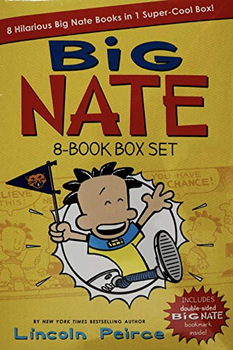 Big Nate 8-Book Box Set by Lincoln Peirce Novels Comics + Double-Sided Bookmark