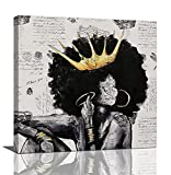 African American Wall Art Black Queen Vintage Canvas Print Black And Gray Painting Funny Artworks Home Decor For Living Room Bedroom Framed Ready To Hang 20x20 Inch