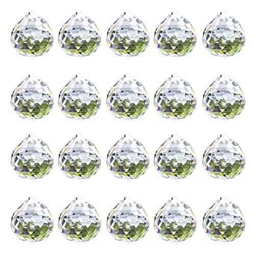 """Moritic 20 piezas Prisma de bola de cristal de cristal, 0.8 """"/ 20mm Colgantes de atrapasol de cristal Fabricante de arco iris, Prisma de cristal colgante"""