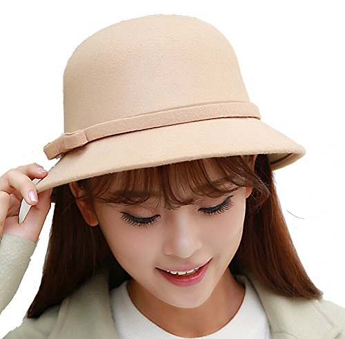TININNA TININNA Eleganter Retro Bowknot Hut Wolle Wannen Hut Herbst Winter Hut Cloche Hut Derby Kappe Fedora Hut Hüte Mütze Schirmmütze für Frauen Bestes Weihnachtsgeschenk EINWEG Verpackung