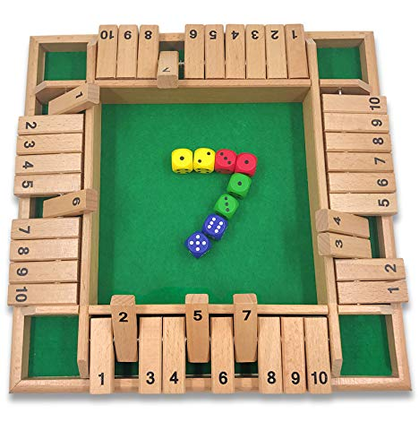 Mimgoshop Shut The Box Dice Game 4 Sided Wooden Board Game Set with 8 Dice for 2 to 4 Players Family Version Large Size