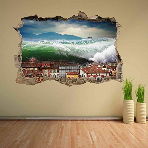 Tsunami Waves Desastre Natural golpea Casas Etiqueta de la Pared decoración de la Etiqueta Mural