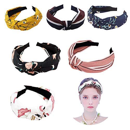 Ealicere 6 Stück Damen Stirnbänder Breit Haarbänder Turban Verknotet Vintage Lässige Bow Knot Haarschmuck, Boho im Retro Style Haarband Make-up
