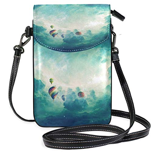 XCNGG bolso del teléfono Small Crossbody Coin Purse Starry Sky Hot Air BalloonPhonepurse for Women Bags Leather Multicolor smart phone Bags Purse With Removable Strap