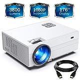 FunLites Video Projektor Full HD, Portable Mini Beamer, Native 1280x720P unterstützt 1080P, HDMI VGA AV USB kompatibel, Weiß