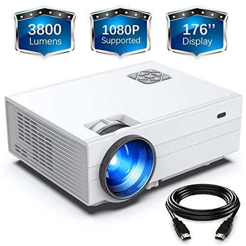 Beamer, FunLites Video Projektor, Portable Mini Beamer, unterstützt 1080P, Wieß
