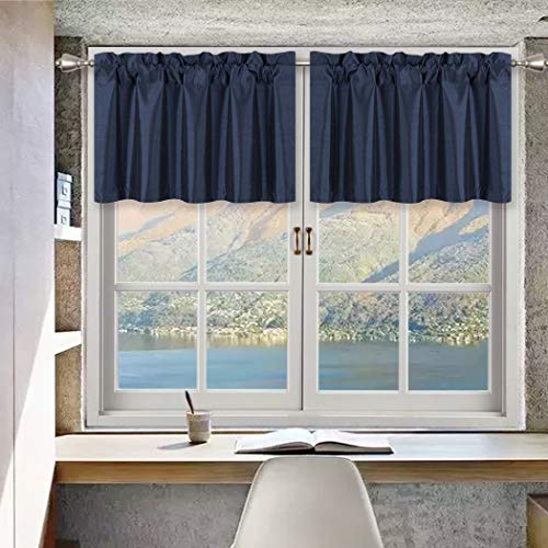 Home Queen Solid Rod Pocket Room Darkening Curtain Valance Window Treatment for Living Room, Short Straight Drape Valance, 2 Pieces, 52 X 18 Inch, Navy