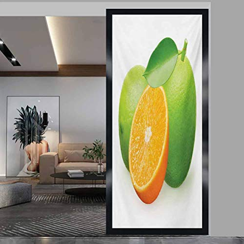 W 17.7' x L 35.4' Window Film 3D Static Decoration Self Adhesive for Removable Window Sticker Anti-UV Glass Film,Green and Orange,Fresh Limes with Half Orange Winter Season Fruits Citrus Theme,Orange