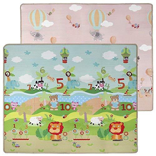 lulalula Alfombra de Juegos para niños Alfombrilla Juego Grosor Doble Cara Impermeable Seda LDPE Alfombrilla para bebés Ideal para el Contener, 200x 180x 1cm-Extra Grande