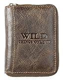 Wild, portafoglio in vera pelle, marrone scuro con attorno una cerniera in metallo