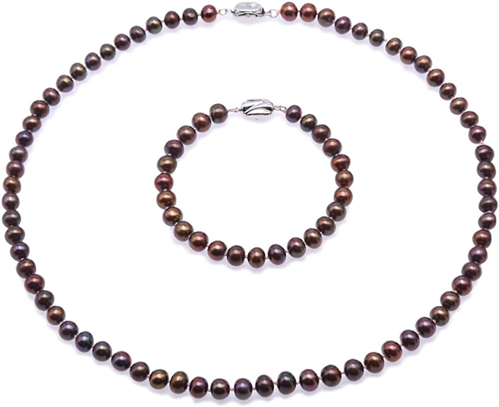 JYX Pearl Necklace Set AA Quality Black Flat Freshwater Cultured Pearl Necklace and Bracelet Jewelry Set