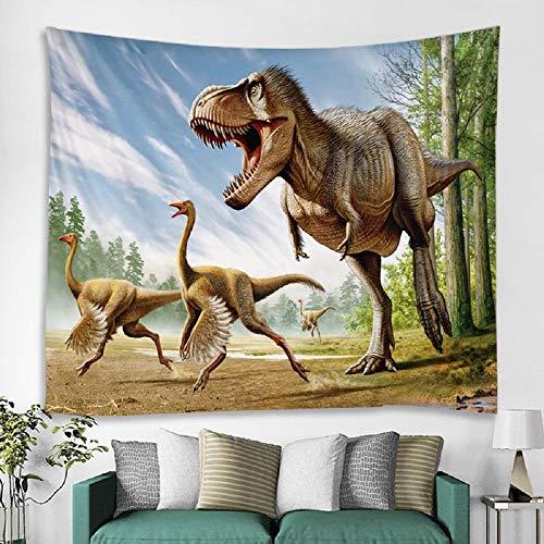 AdoDecor Correr Dinosaurio Dinosaurio Colgante de Pared Hojas de Tapiz Tapices Decorativos para el hogar Toalla de Playa Estera de Yoga Manta Tapiz de Pared 150x130cm/59 * 51inch