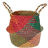 Seagrass ventre Panier de rangement avec poignées tissé rangement pliable Plante en pot bassin couverture pour l'épicerie blanchisserie Sac de plage pique-nique (L) Accessoires de jardin