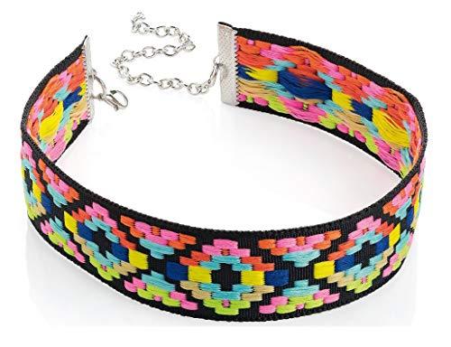 Mehrfarbiger, heller Tribal-Aufdruck, Halsband, Halskette, Modeschmuck, Schmuck für Damen und Mädchen
