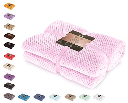 DecoKing 66188 Kuscheldecke 150x200 cm rosa Decke Microfaser Wohndecke Tagesdecke Fleece weich sanft kuschelig skandinavischer Stil pink Puder Henry