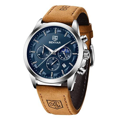 BENYAR Herren Uhr Chronograph Analogue Quartz Uhr Männer Blau Zifferblatt Business Military Sport Armbanduhr mit Leder Armband 30m Wasserdicht Elegant Geschenk für männer