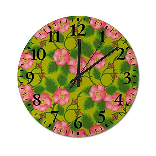 DKISEE Silent Wooden Wall Clock Roses Pattern06 Decorative Simple Roun