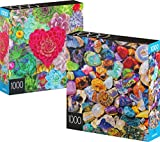 Spin Master Games 2-Pack of 1000-Piece Jigsaw Puzzles, for Adults, Families, and Kids Ages 8 and up, Succulents and Rocks and Minerals